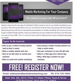 Eastlake Networking Group Helps Small Business: Hosting Free Presentation on Mobile Marketing